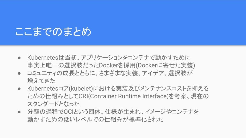 ここまでのまとめ ● Kubernetesは当初、アプリケーションをコンテナで動かすために 事...