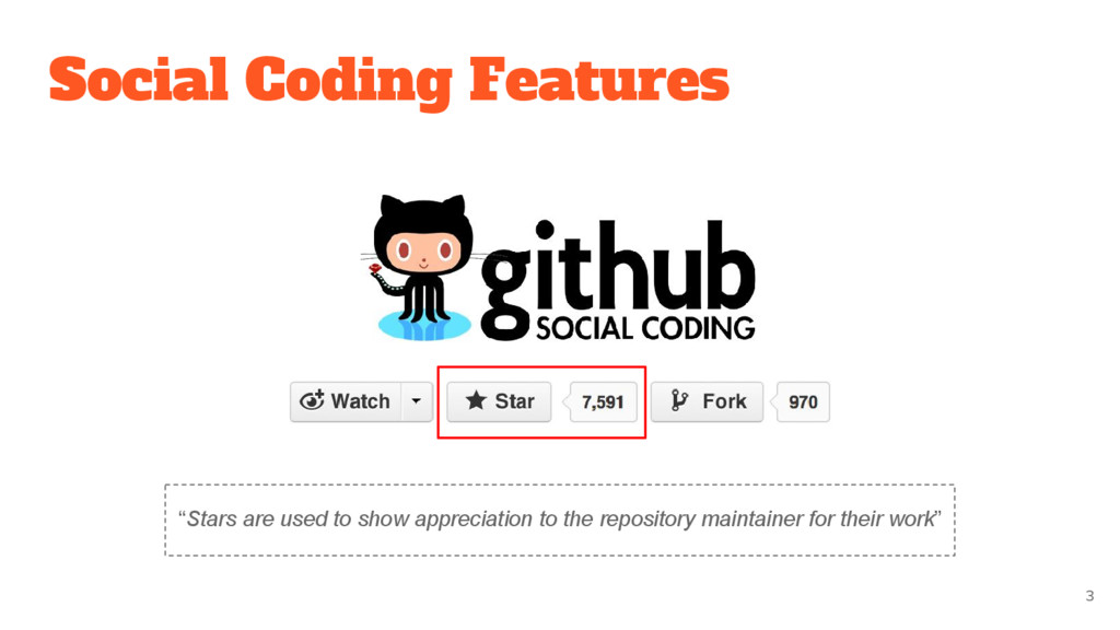 "Social Coding Features 3 ""Stars are used to sho..."