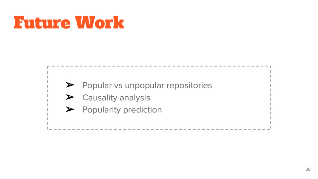 Future Work ➢ Popular vs unpopular repositories...