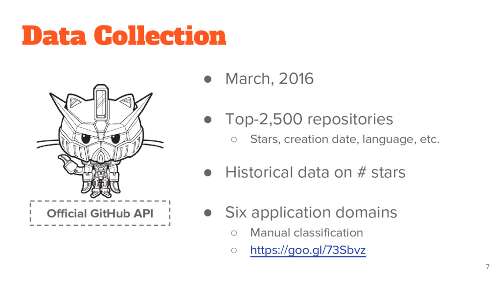 Data Collection ● March, 2016 ● Top-2,500 repos...