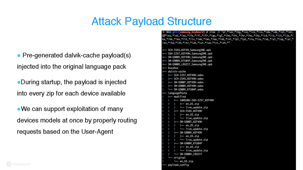 Attack Payload Structure ! Pre-generated dalvik...