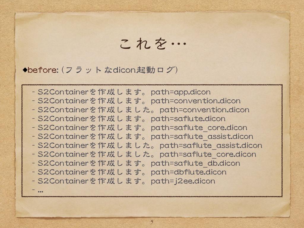 これを… before: (フラットなdicon起動ログ) 5 - S2Containerを作...