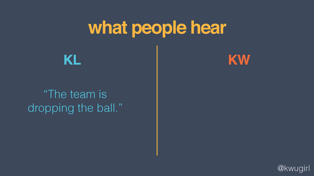 """@kwugirl what people hear KW KL """"The team is dr..."""