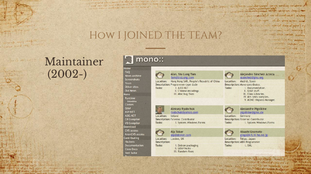How I JOINED THE TEAM? Maintainer (2002-)
