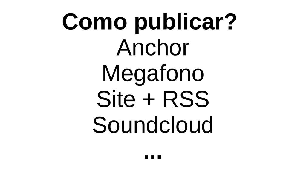 Como publicar? Anchor Megafono Site + RSS Sound...
