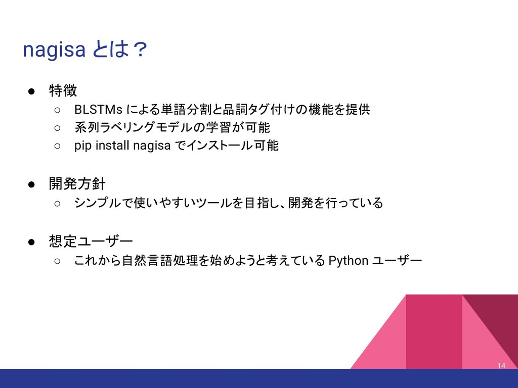 nagisa とは? ● 特徴 ○ BLSTMs による単語分割と品詞タグ付けの機能を提供 ○...