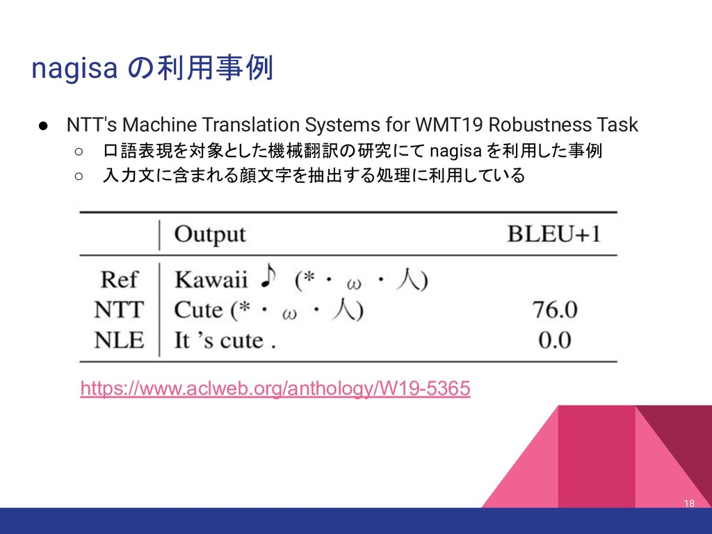 nagisa の利用事例 ● NTT's Machine Translation System...