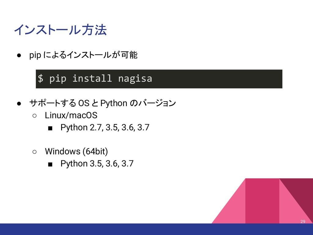 インストール方法 29 $ pip install nagisa ● pip によるインストー...