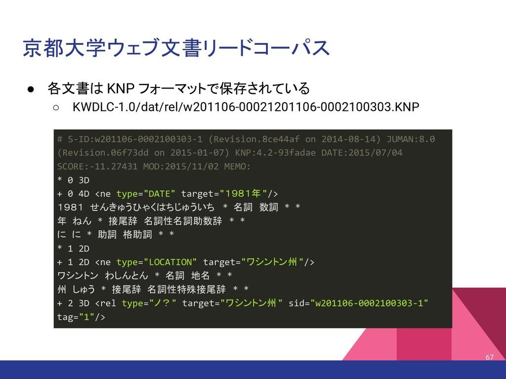 京都大学ウェブ文書リードコーパス ● 各文書は KNP フォーマットで保存されている ○ KW...
