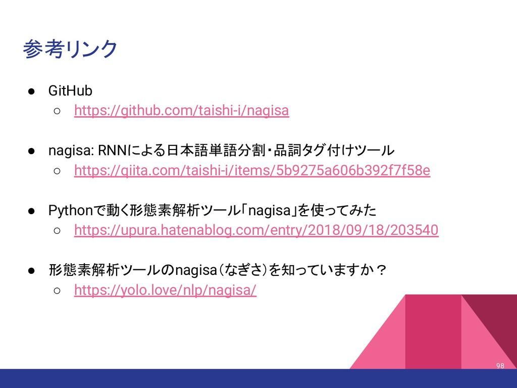 参考リンク ● GitHub ○ https://github.com/taishi-i/na...