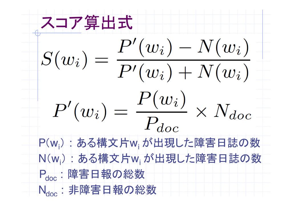 スコア算出式 P(w i ) : ある構文片w i が出現した障害日誌の数 N(w i ) :...