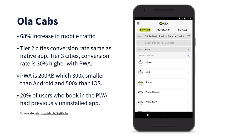 Ola Cabs • 68% increase in mobile traffic • Tier...