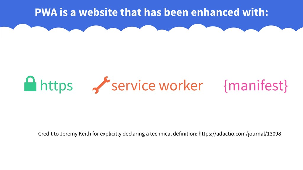 PWA is a website that has been enhanced with: {...