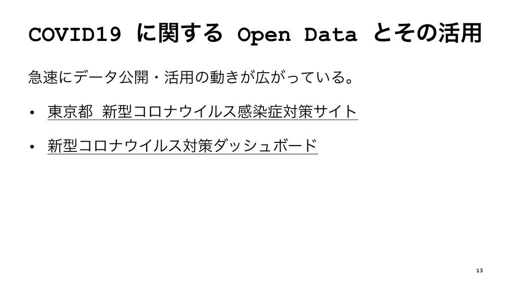 COVID19 ʹؔ͢Δ Open Data ͱͦͷ׆༻ ٸʹσʔλެ։ɾ׆༻ͷಈ͖͕͕ͬ...