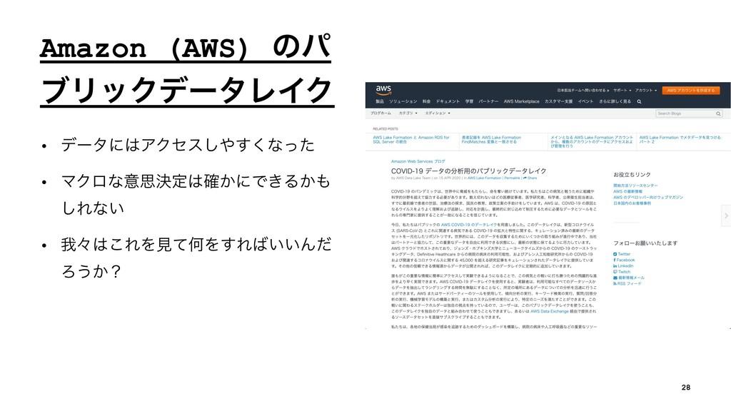 Amazon (AWS) ͷύ ϒϦοΫσʔλϨΠΫ • σʔλʹΞΫηε͘͢͠ͳͬͨ •...