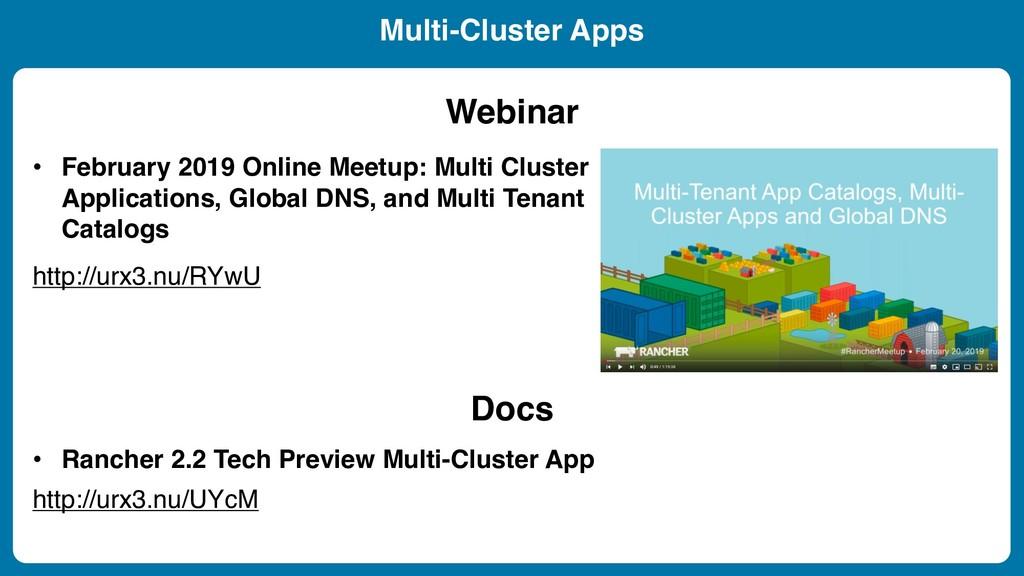 Multi-Cluster Apps http://urx3.nu/RYwU • Februa...