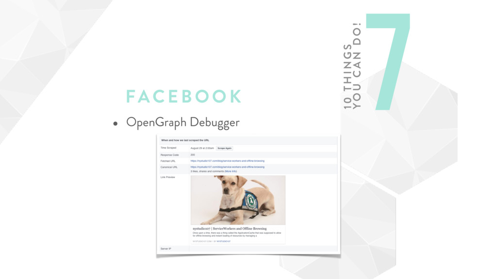 FAC EBOOK • OpenGraph Debugger 7 10 TH ING S
