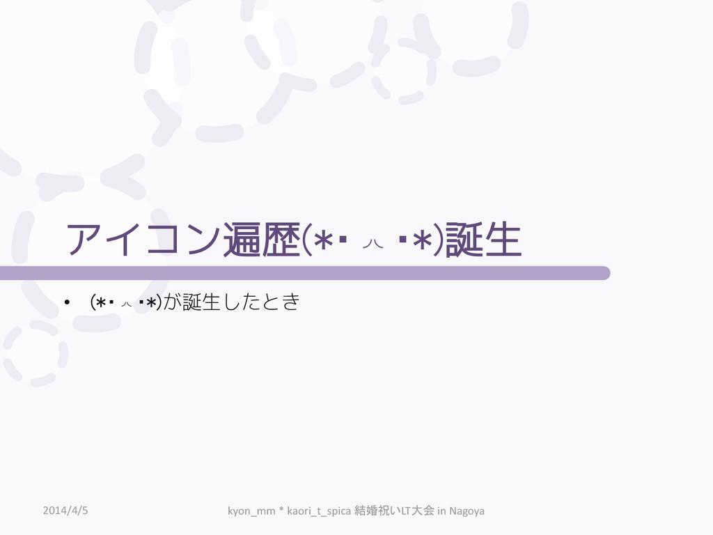 アイコン遍歴(*・◞◟・*)誕生 • (*・◞◟・*)が誕生したとき 2014/4/5 kyo...