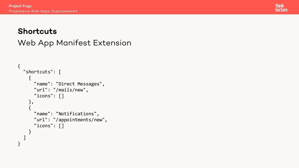 """Web App Manifest Extension { """"shortcuts"""": [ { """"..."""