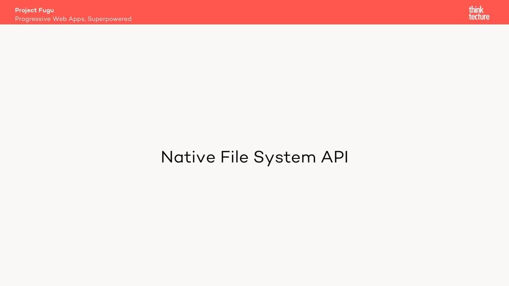 Native File System API Project Fugu Progressive...