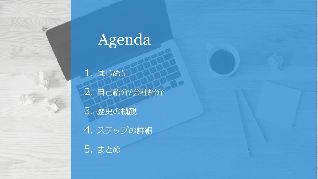 Agenda 1. はじめに 2. 自己紹介/会社紹介 3. 歴史の概観 4. ステップの詳細...