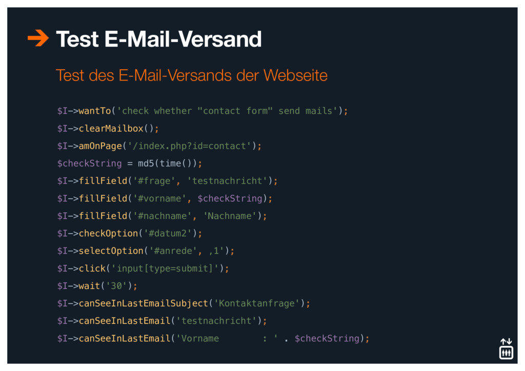 """Test E-Mail-Versand $I->wantTo('check whether """"..."""