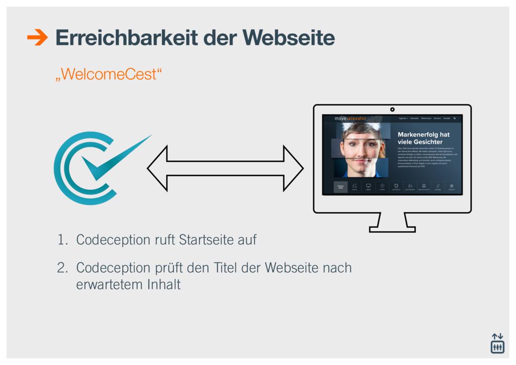 1. Codeception ruft Startseite auf 2. Codecepti...