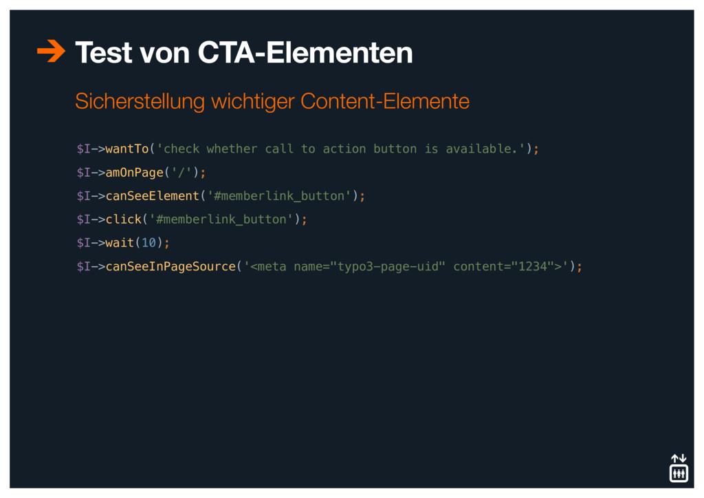 Test von CTA-Elementen $I->wantTo('check whethe...