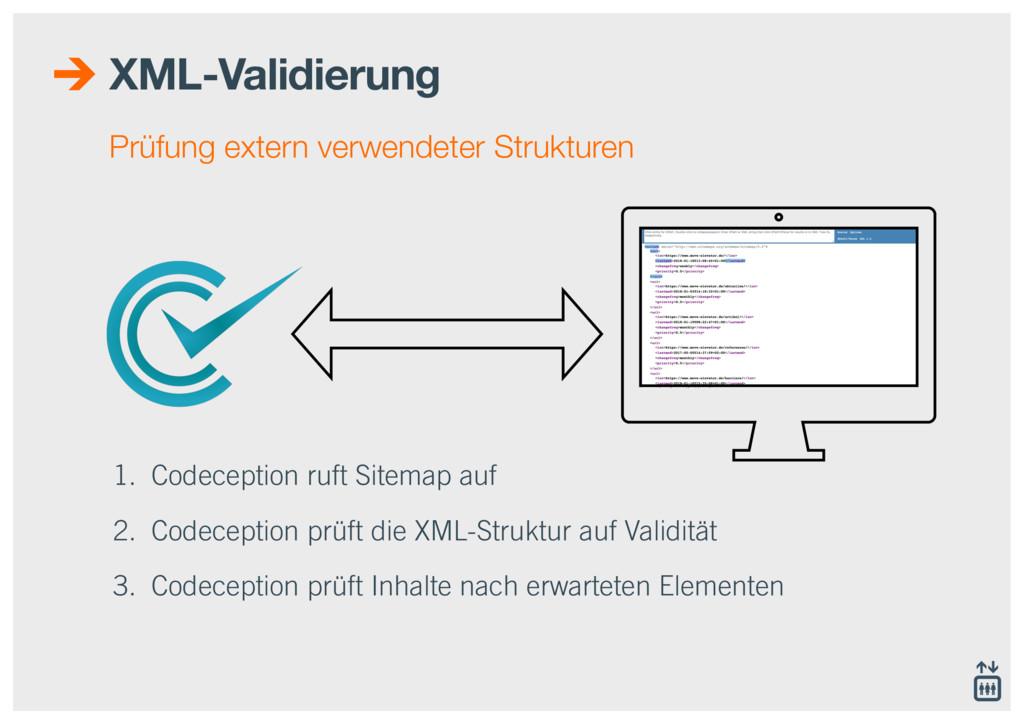1. Codeception ruft Sitemap auf 2. Codeception ...