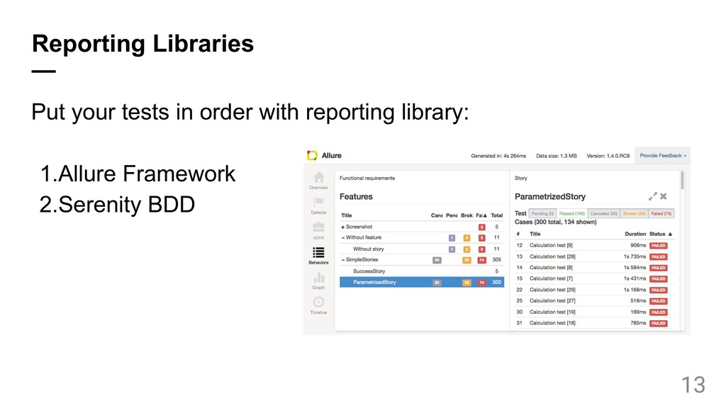 Reporting Libraries — Put your tests in order w...