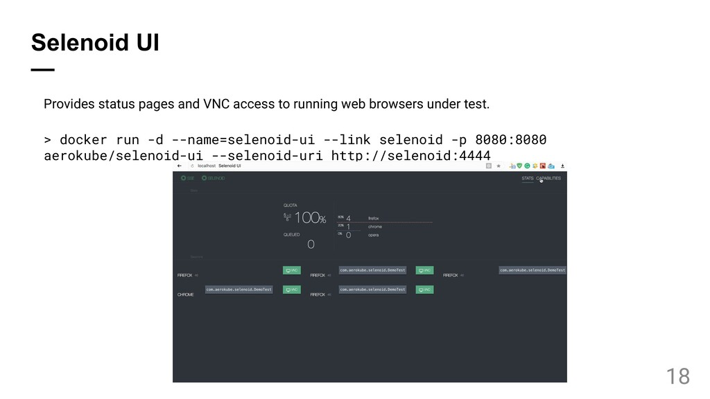 Selenoid UI — Provides status pages and VNC acc...