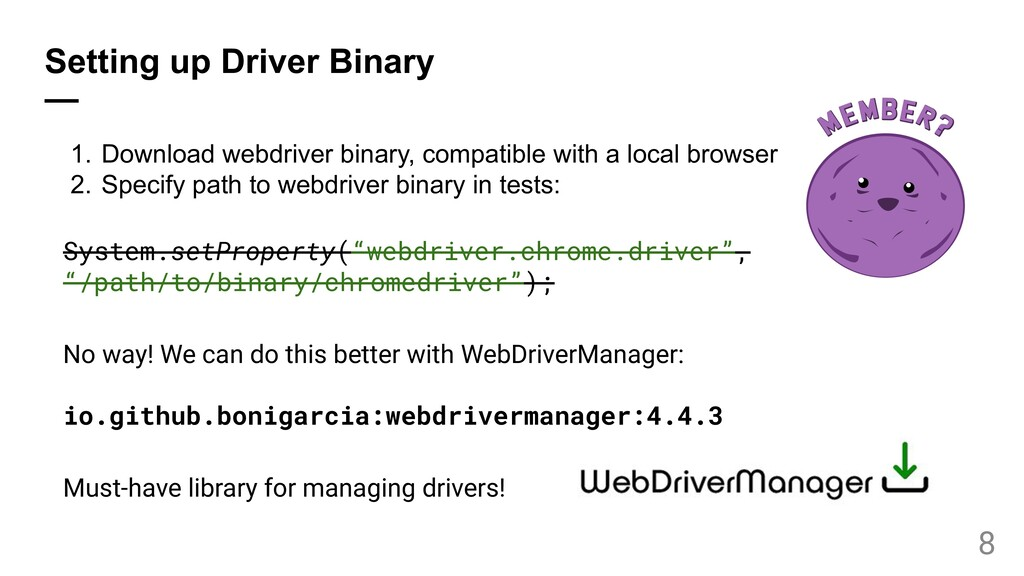 Setting up Driver Binary — 1. Download webdrive...