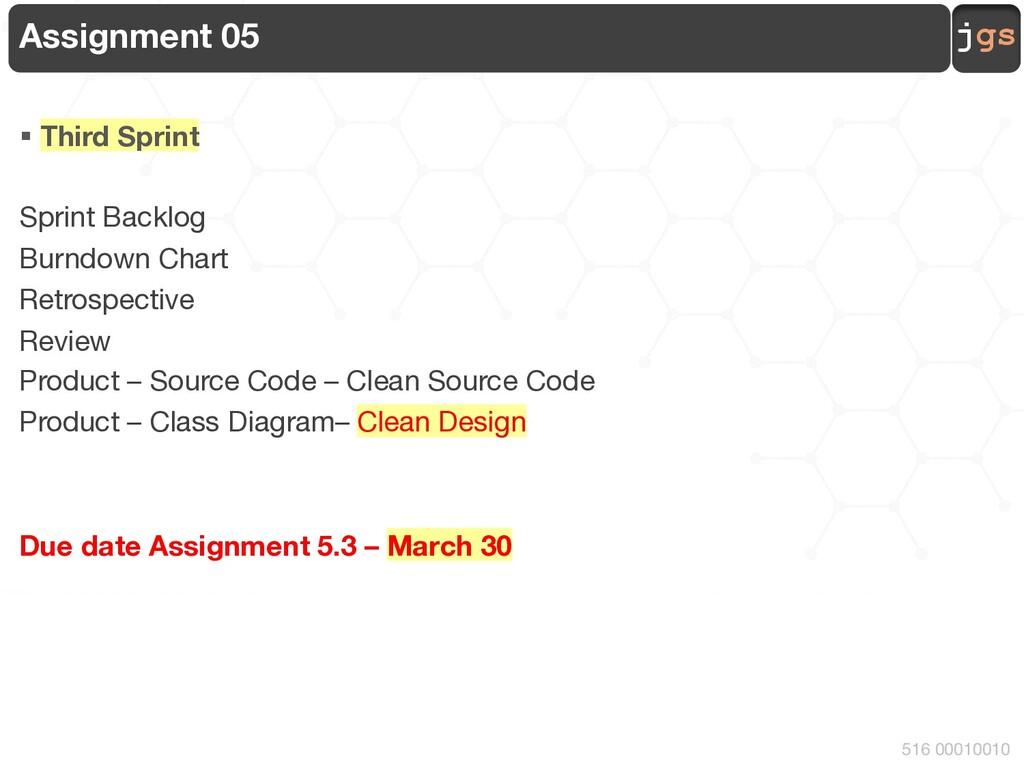 jgs 516 00010010 Assignment 05 § Third Sprint S...