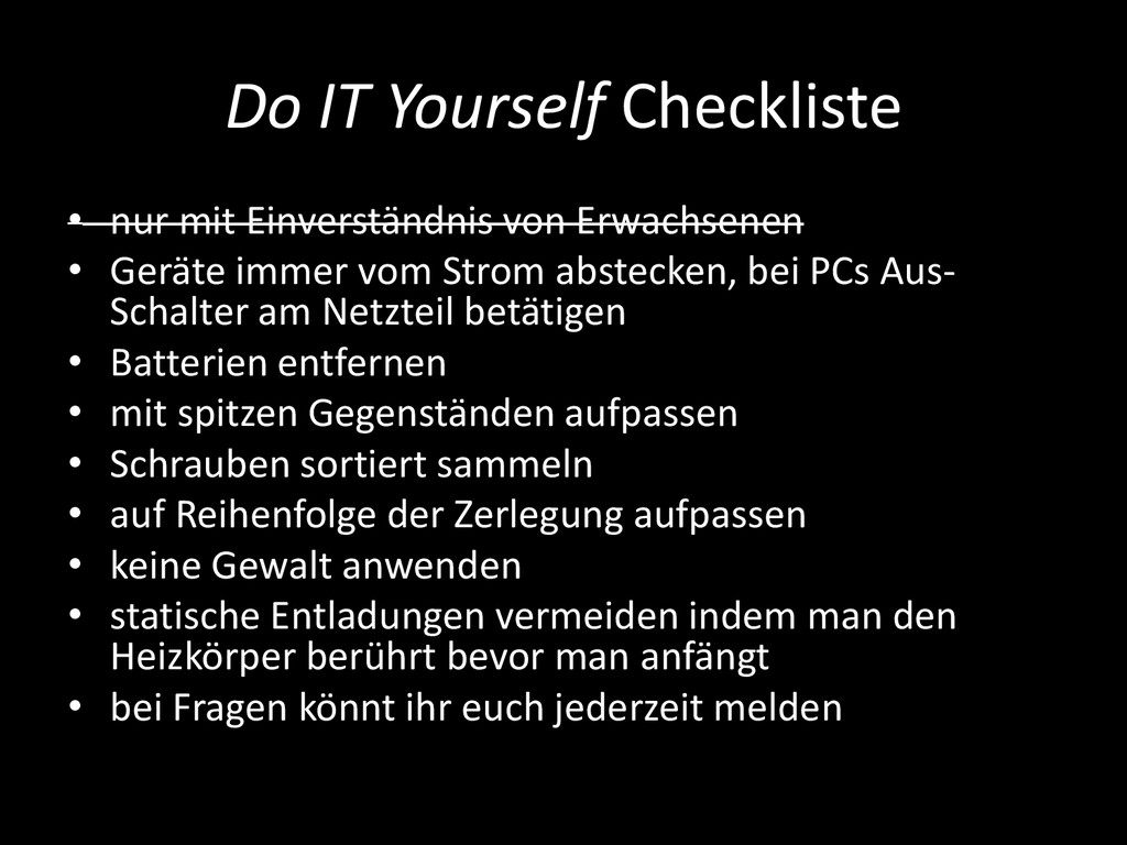 Do IT Yourself Checkliste • nur mit Einverständ...