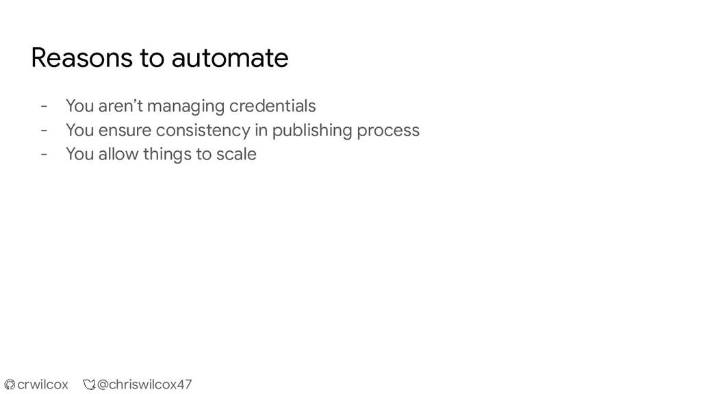 crwilcox @chriswilcox47 Reasons to automate - Y...