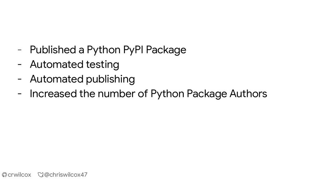 crwilcox @chriswilcox47 - Published a Python Py...