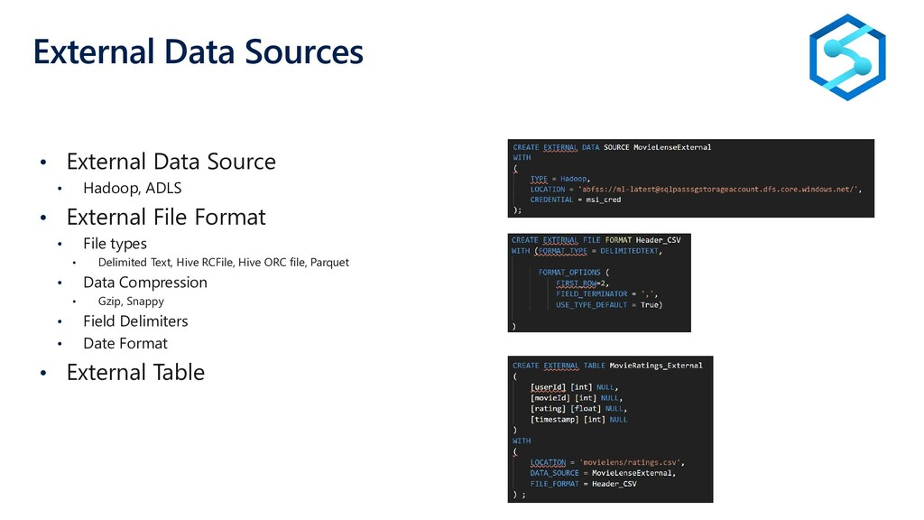 External Data Sources • External Data Source • ...