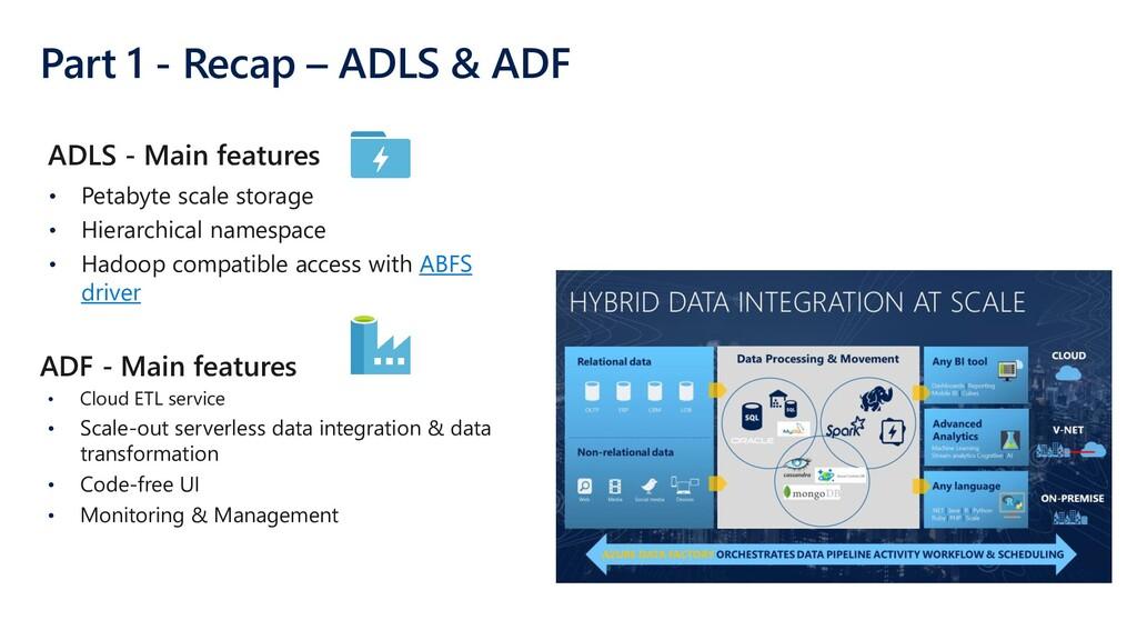 Part 1 - Recap – ADLS & ADF • Petabyte scale st...