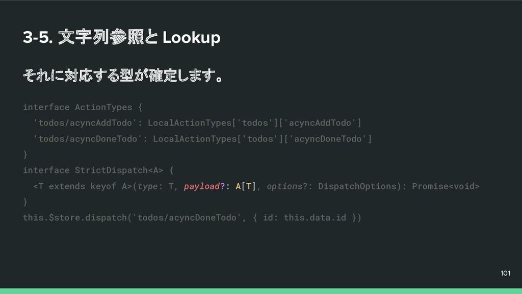 3-5. 文字列参照と Lookup それに対応する型が確定します。 101 101 101 ...