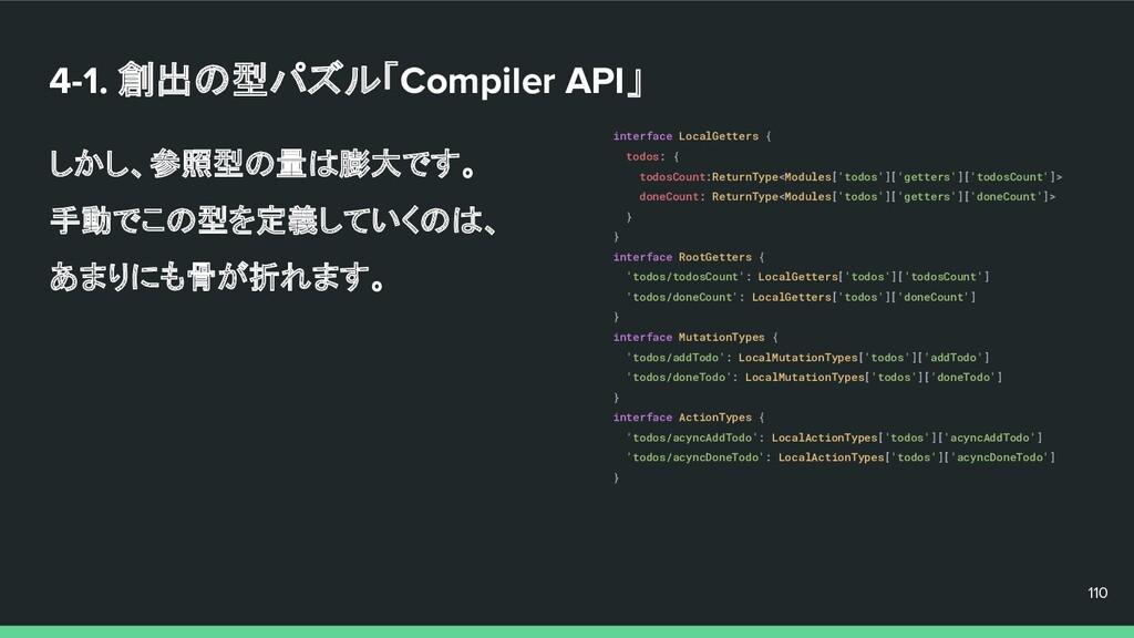 4-1. 創出の型パズル「Compiler API」 しかし、参照型の量は膨大です。 手動でこ...
