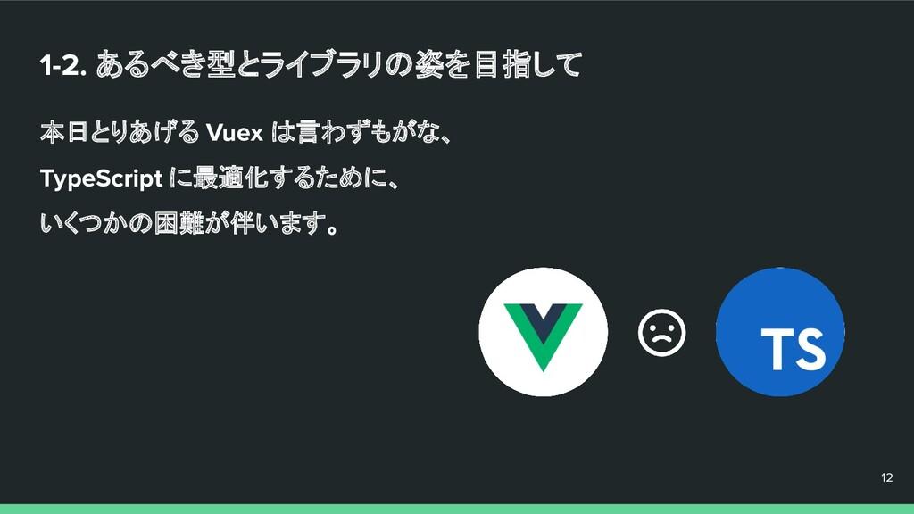 1-2. あるべき型とライブラリの姿を目指して 本日とりあげる Vuex は言わずもがな、 T...