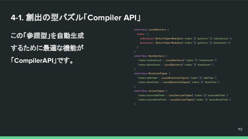 4-1. 創出の型パズル「Compiler API」 この「参照型」を自動生成 するために最適...