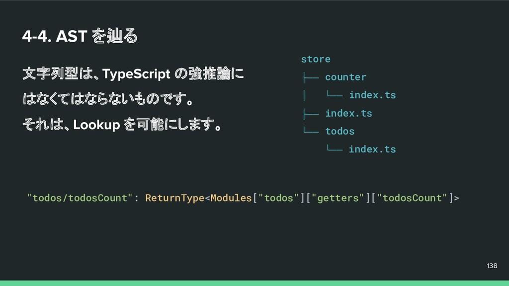 4-4. AST を辿る 文字列型は、TypeScript の強推論に はなくてはならないもの...