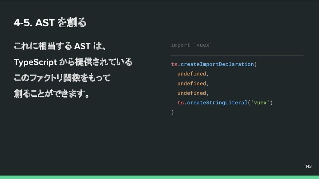 4-5. AST を創る これに相当する AST は、 TypeScript から提供されてい...