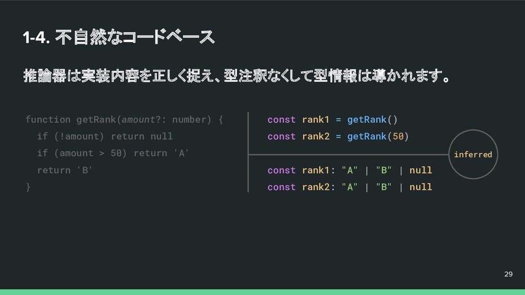 1-4. 不自然なコードベース 推論器は実装内容を正しく捉え、型注釈なくして型情報は導かれます...