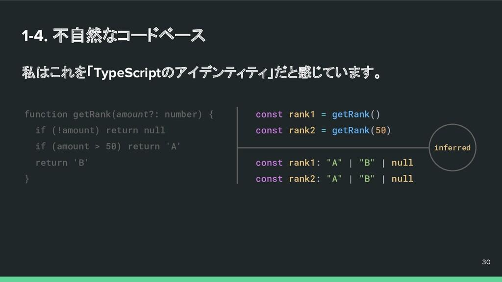 1-4. 不自然なコードベース 私はこれを「TypeScriptのアイデンティティ」だと感じて...