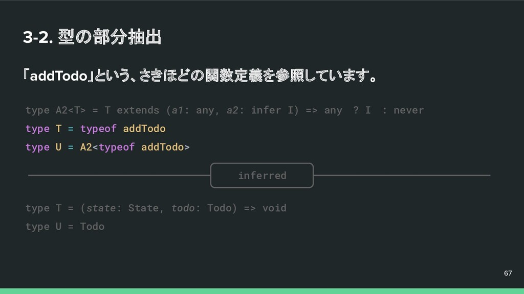 3-2. 型の部分抽出 「addTodo」という、さきほどの関数定義を参照しています。 67 ...