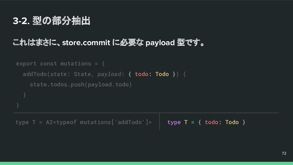 3-2. 型の部分抽出 これはまさに、store.commit に必要な payload 型で...