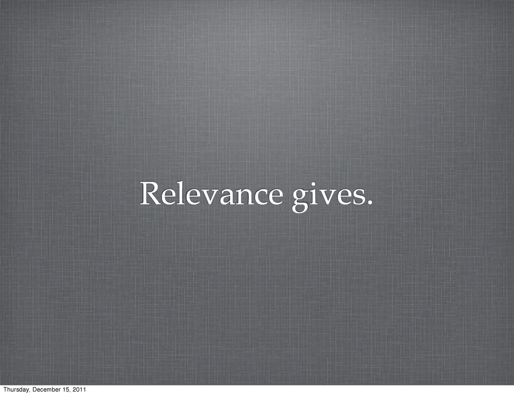 Relevance gives. Thursday, December 15, 2011