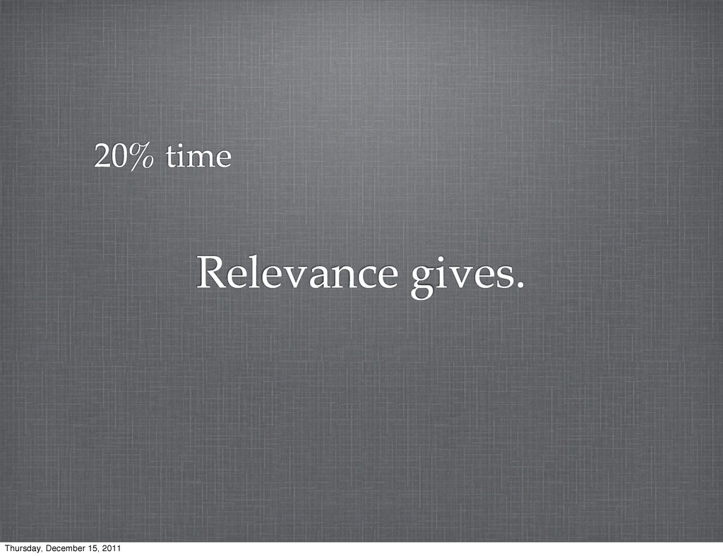 Relevance gives. 20% time Thursday, December 15...